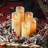 CCLIFE LED Kerzen 3er 5er Set mit Fernbedienung Timer Funktion 300 Stunden flackernde Paraffin Echtwachs Kunststoff Kerze flammenlose Batteriebetrieb, Farbe:5er LED Kerzen aus Echtwachs