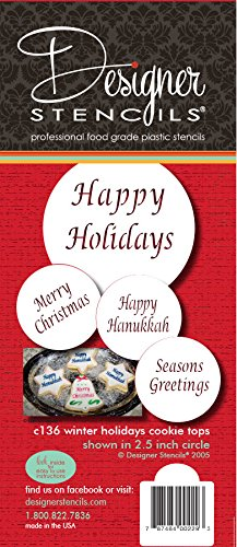 Designer Stencils Winter Holidays Cupcake and Cookie Stencils (Merry Christmas, Happy Holidays, Happy Hanukkah and Seasons Greetings)