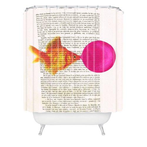 Deny Designs Coco de Paris Duschvorhang, Goldfisch mit Kaugummi, 175,3 x 182,9 cm