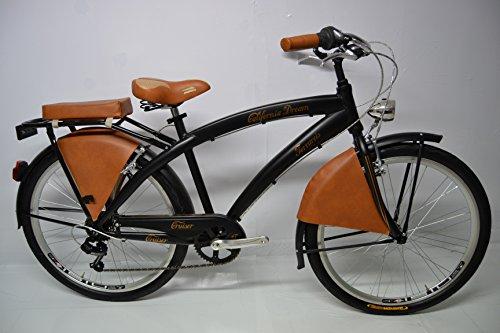 Cicli Ferrareis Bici Cruiser Bicicletta Custom Dream 26 6 v Passeggio Nera Marrone Bronzo Personalizzabile