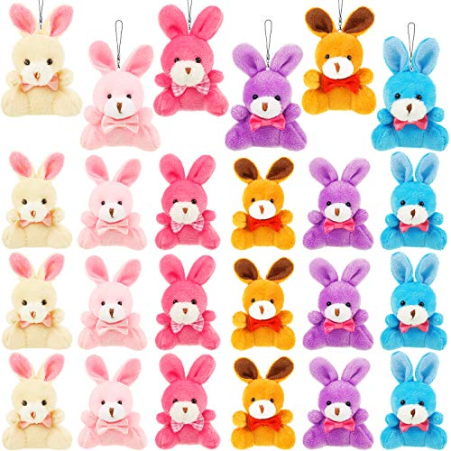 24 Conejitos de Peluche de de Pascua Juguetes de Conejo Animal de Felpa Relleno de Huevos Cestas de Pascua para Favores de Fiesta de Regalo Decoración Pascua