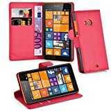 Cadorabo Hülle für Nokia Lumia 535 - Hülle in Karmin ROT – Handyhülle mit Kartenfach & Standfunktion - Hülle Cover Schutzhülle Etui Tasche Book Klapp Style