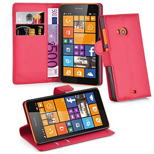 Cadorabo Hülle für Nokia Lumia 535 - Hülle in Karmin ROT – Handyhülle mit Kartenfach & Standfunktion - Case Cover Schutzhülle Etui Tasche Book Klapp Style