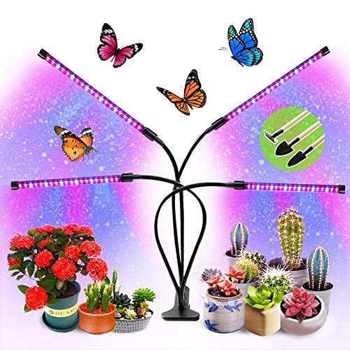 Grow Lampe Pflanzenlampe Pflanzenlicht für Zimmerpflanzen UV Lampe Pflanzen Pflanzenleuchte Grow Light Wachstumslampe Vollspektrum Blaue und Rot Spektrum 9 Helligkeitsstufe mit Timer Auto Zitronenbaum