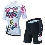 HXTSWGS Maillot de Ciclismo para Mujer de Manga Corta, Camiseta de Manga Corta + Pantalones Cortos con Almohadilla para el asiento-A04_XS