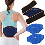LotFancy Gel Ice Pack for Back Injuries, 2pcs Hot Cold Packs with Wrap for Lower Back Belly Waist Hip Lumbar Abdomen Leg Pain Relief, Reusable Cooling Heating Therapy Compress for Arthritis