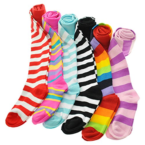 Angelina 6-Pack Girl's Colorful Assorted Patterned Winter Tights [Heel and Toe], 0031_1_6-8
