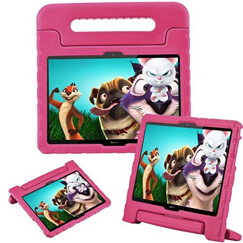 GOZOPO Funda infantil para Huawei Mediapad T5 de 10.1 pulgadas – Huawei T5 10.1 Funda, peso ligero y a prueba de golpes con mango de EVA funda protectora para Huawei Mediapad T5 10.1' (Rosa)