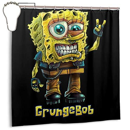 GSEGSEG Wasserdichter Polyester-Duschvorhang Spongebob Parodie Grungebob Print Dekorativer Badezimmer-Vorhang mit Haken, 183 x 183 cm