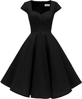 Damen Cap Sleeves 1950er Retro Vintage Cocktail Swing Kleider mit Tasche