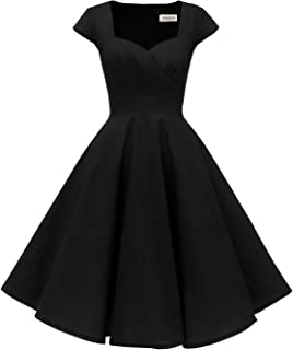 Hanpceirs Women's Cap Sleeve 1950s Retro Vintage Cocktail Swing Dresses with Pocket