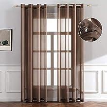 eurostyle Cortina Iris marrón claro transparente con ojales de aluminio tejido suave para dormitorio y salón 140 x 280 cm n 1 panel