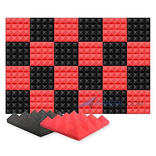 Arrowzoom 24 Akkustik Platten Akkustikschaumstoffmatten Akustikschaumstoff 25x25x5cm Fliesen Dämmung Wanddeko Pyramiden Noppenschaumstoff Breitbandabsorber Decke Foam Feuerhemmend Rot Schwarz