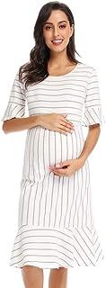 Love2Mi Women's Striped Maternity Wear Dress Ruffle Trim...