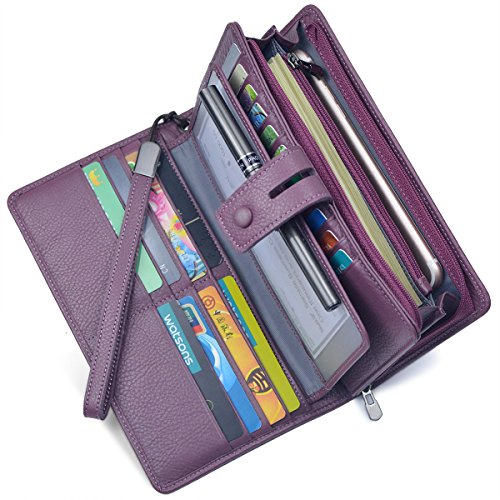 Women's Big Fat Rfid Leather Wristlet Wallet Organizer Large Phone Checkbook Holder with Zipper...