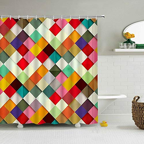 KUKUALE Colorful Geometry Shower Curtain 3D Bathroom Curtain With Hooks Decorative Partition Screen Polyester Washable Cloth 180X180CM(71X71IN)