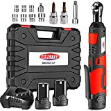 3/8' Cordless Electric Ratchet Wrench Set, Dobetter 40 Ft·lb Power Ratchet Toolwith (2) 2 Ah Lithium-Ion Batteries, 7 Sockets, 2 Screwdrivers, 1 Extender, 1/4' Adapter, 1 Quick Charger -DBCRW12