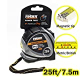 Finder Magnetic Tape Measure, Measuring Tape Self Lock 25-Foot (7.5 Meter) Metric