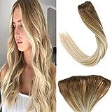 Marron Clair Balayage Blond Microring Extensions Cheveux Naturels Tissage 16'/40cm 50Grammes Une Piece Easy Weft/EZE Weft 12' Width
