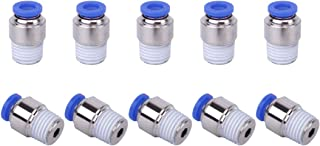 SNS SPOC1/4-N02 Straight Nickel-Plated Brass Push to Connect Tube Fitting Male Straight 1/4