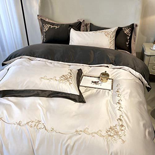 funda de edredón 220x240,La seda de hielo de la boda europea es un juego de camas individuales de la cama de seda bordado regalo de la cubierta de la cama roja grande-K_1.8m cama cuatro piezas