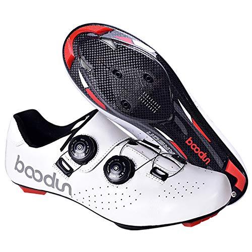 Zapatillas De Ciclismo Para Hombre Zapatillas De Bicicleta,carretera Hebilla De Doble Espina De Fibra De Carbono Zapatillas De Bicicleta Ultraligeras Deporte Con Cierre Automático,White-42EU(270mm)