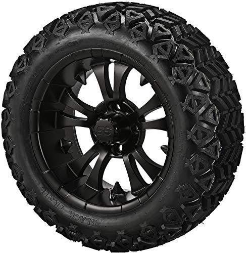 14' VAMPIRE Matte Black Aluminum Wheels and 23x10-14' DOT All Terrain Golf Cart Tires Combo - Set of 4 (New Style 5-Spoke Vampire!)