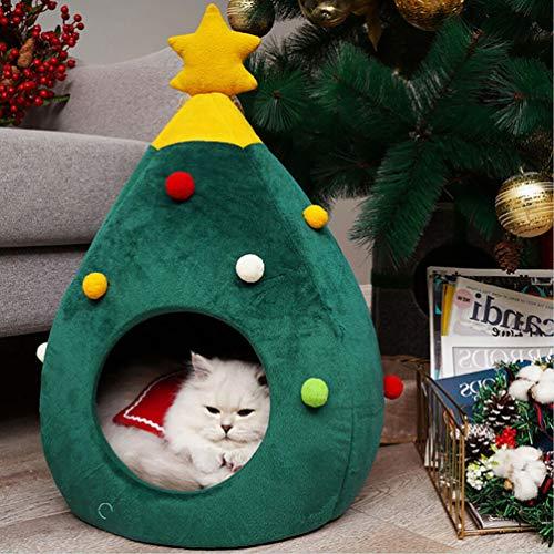 QIHONG, Cuccia a Forma di Albero di Natale, Semi Chiusa, Comoda, per Cani e Gatti