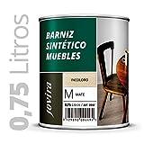 BARNIZ MUEBLES SINTETICO, Excepcional dureza y resistencia al rayado para todo tipo de maderas (750ML, BRILLANTE)