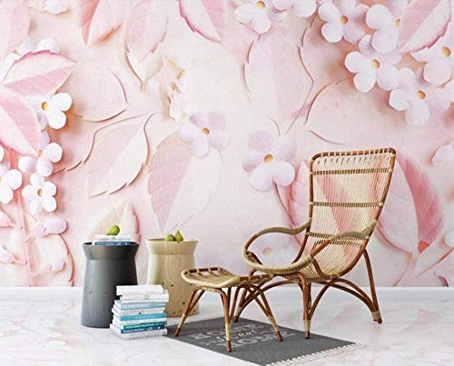 Mural Wallpaper Photo Poster Wall DecorationDreamy Beauty of Pink Flowers and leavesBackground Wall Background Painting Panorama 3D Wall Mural Decor 300 * 450cm