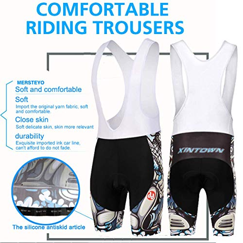 SKYSPER Radtrikot Herren,Fahrradtrikot mit Sitzpolster Fahrradbekleidung mit 3D-Kissen Radfahren Schnelltrocknend Atmungsaktive Bequeme Mountainbike Hose Trikot für Radsport Jogging Wandern Kletter - 2