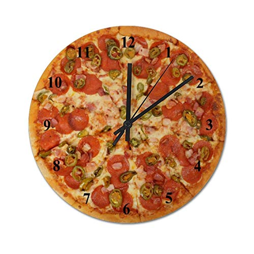 Orologio da parete senza ticchettio, 30 x 30 cm, orologio silenzioso fatto in casa, per prosciutto, peperoncino, pizza, decorazione per casa, ufficio, scuola, cucina, camera da letto, soggiorno