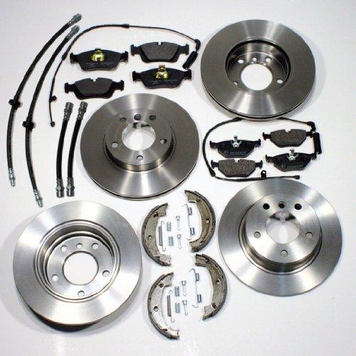 Bremsscheiben/Bremsen + Bremsbeläge + Handbremse + Zubehör + Bremsschläuche für vorne + hinten