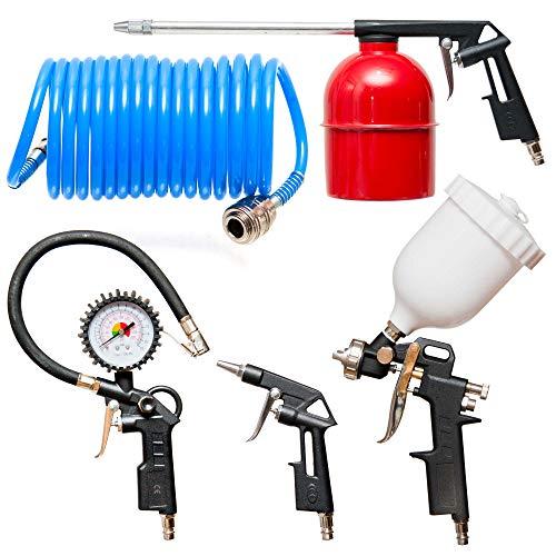 KFZ Druckluft Set 5-teilig Schlauch Reifenfüllmesser Ausblas- Farbspritzpistole