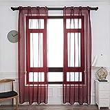 Dalina Textil 2 Piezas Visillo Translúcidas con diseño Lluvia con 3 Formas de USOS para Salón o Habitación con Efecto Gasa Fina 140X260CM