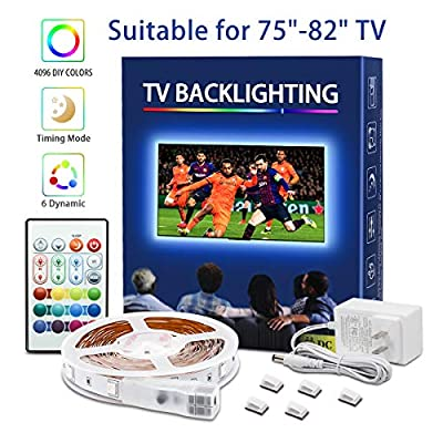 TV Backlight 8.3ft RGB 5050LEDs 4096 Colors Changing 30mins Timing Off LED Strip Lights with Remote for 32-70in TV 5V USD Powered LED Tape Light Kits for Monitor Home Bedroom Desk Ambient Lighting