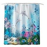Iusun Bathroom Rug Set,4PCS Coral Dolphin Print Series Non-Slip Toilet Cover Suction Grip Bath U-Shape Mat Floor Carpet Shower Curtain for Kitchen Doormats Decor