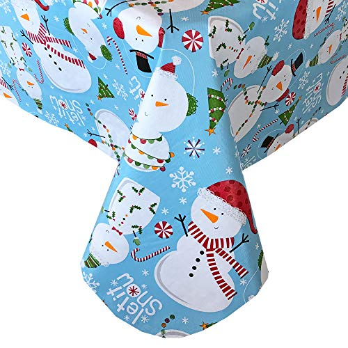 Newbridge Let It Snow Blue Snowman Christmas Print Vinyl Flannel Backed Tablecloth, Winter Snowmen Xmas Tablecloth, (60 Inch x 84 Inch Oval)