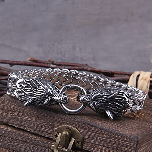 Never Fade Rock Viking Dragon Wolf Charm Bracelet Hombres Cadena De Malla De Acero Inoxidable Gold Wolf Punk Pulseras Biker Jewelry,B,21cm