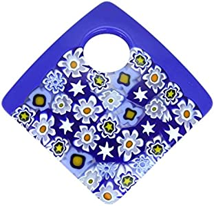 GlassOfVenice - Colgante de cristal de Murano curvado, cuadrado, color azul cobalto