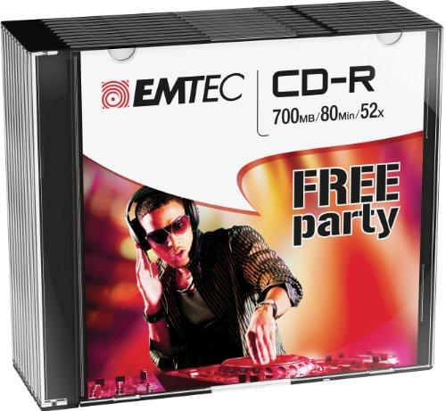 Emtec ECOC801052SL CD-R 700MB 10Stück(e) CD-Rohling - CD-Rohlinge (CD-R, 700 MB, 10 Stück(e), 120 mm, 80 min, 52x)