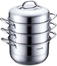 XMDD Steamer, Stainless Steel Steamer, Easy To Store 304 Stainless Steel Three-layer Double Bottom Steamer, Gas Gas Induct...