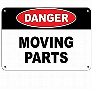 WWWWOHENMEI Danger Moving Parts Hazard Sign Hazard Labels Sign Parking Sign Crossing Sign 8x12 Inch Warning Tin Sign