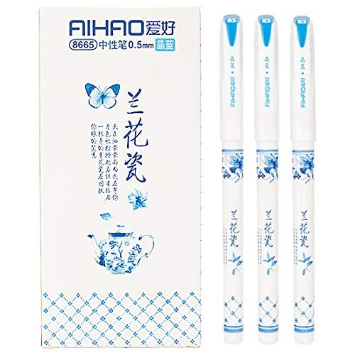 Gelschreiber mit schwarzer und blauer Tinte, Kugelschreiber, feine Spitze, Tintenroller, glattes Schreiben, Stifte für Büro, Heimarbeit, 0,5 mm feine Spitze, Porzellan-Muster (12er-Pack) (blau)