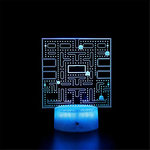 Lámpara de ilusión LED 3D Luz de noche Pac A Man Touch Switch 16 colores Cambio – Regalo perfecto Festival de cumpleaños Navidad para bebés adolescentes amigos