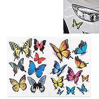 カーバンパーボディデカール 蝶の形のプラスチック製の車無料ステッカー、車用/自動車など(7 PCSカラー) (Color : Colour)