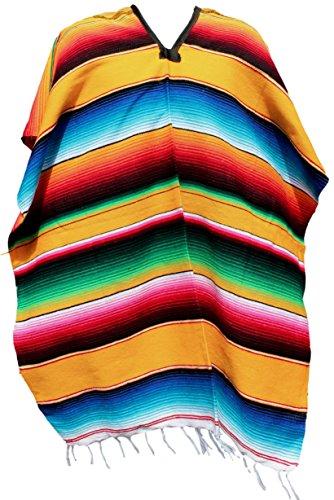 Trade MX - Ponchos mexicanos auténticos sarapes mexicanos talla adulto (varios colores disponibles)