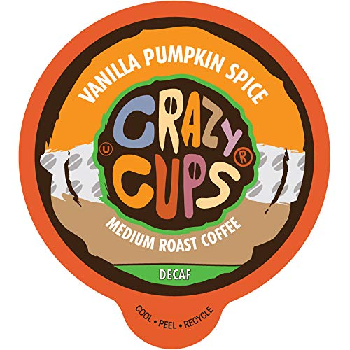 Crazy Cups Decaf Flavored Coffee Pods, Decaf Vanilla Pumpkin Spice Coffee, Recyclable Medium Roast Single Serve Coffee for Keurig K Cups Machines, Brew Hot or As Iced Coffee, 80 Count