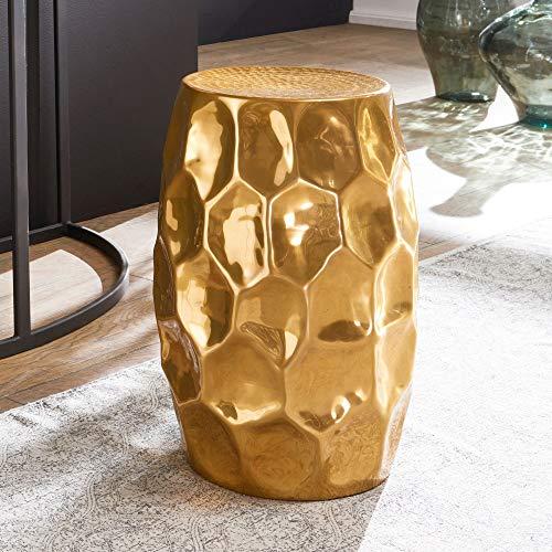 tavolino da salotto ferro battuto FineBuy Tavolino Salotto Martellato Metallo Tavolo da Soggiorno 30x30x47 cm Oro | Tavolinetto Rotondo Orientale | Tavolino da caffè Piccolo