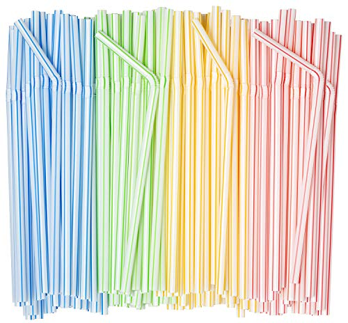 Comfy Package [400 Pack] Striped Flexible Drinking Straws